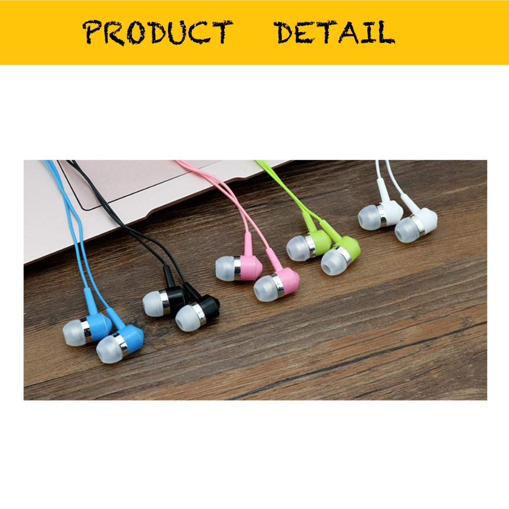 Life.Idea 3.5mm Color Earphones - Package of 10 Pairs, 8 Different Colors, Metal Like Earbuds, Cool and Stylish, Wholesale Bundle, Wide Compatibility (8 Colors/10 pcs) by LifeIdea (Image #3)