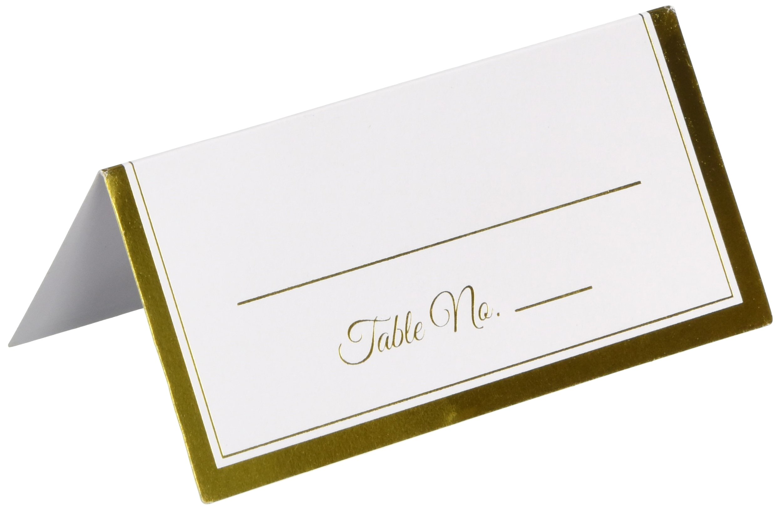 Amscan Durable Party Friendly Place Card with Gold Trim Tableware (600 Piece) by Amscan