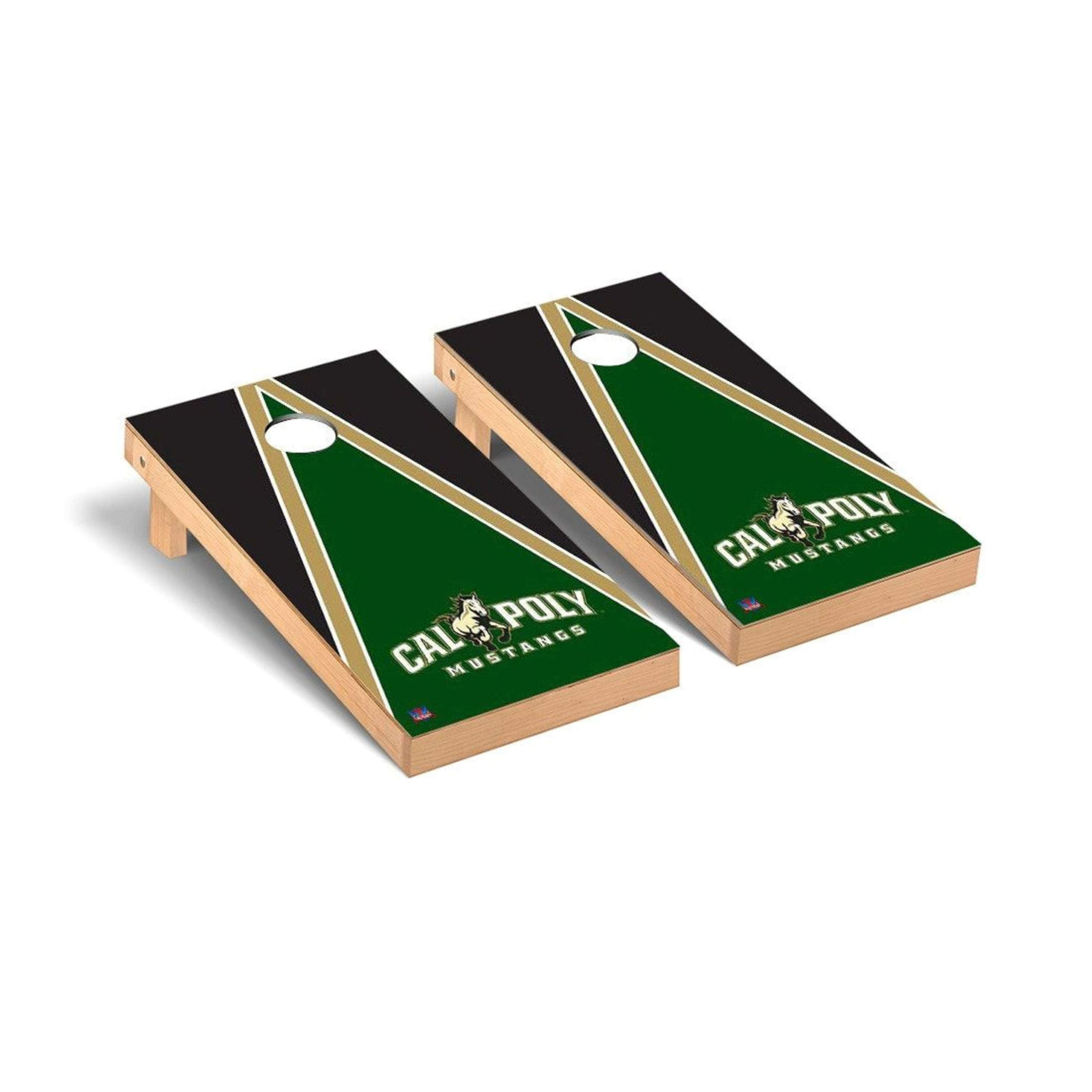 Victory Tailgate Regulation Collegiate NCAA Triangle Series Cornhole Board Set - 2 Boards, 8 Bags - Cal Poly Mustangs by Victory Tailgate