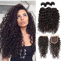 Brazilian Virgin Hair Water Wave Bundles with Closure 100% Unprocessed Wet Wavy...