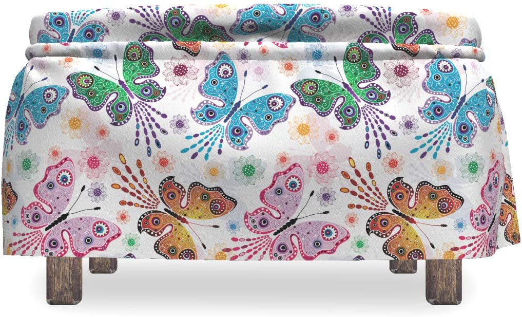 Floral Vibrant Ethnic Standard Size Multicolor Ambesonne Butterfly Ottoman Cover 2 Piece Slipcover Set with Ruffle Skirt for Square Round Cube Footstool Decorative Home Accent