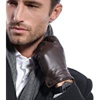MATSU Men's Nappa Leather Soft Long Fleece Lined Gloves Police Style M1005 (BrownS)