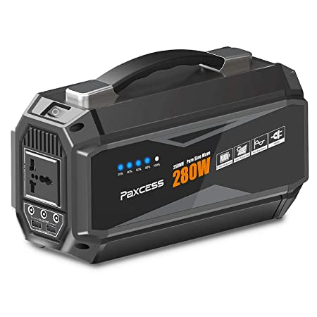 PAXCESS Portable Power Station, 280W 67500mAh Portable Generator with 110V AC Pure Sine Wave, 12.6V DC Ports,5V 3.1AUSB, CPAP Battery Power Supply, Solar Generator for Camping Home Emergency