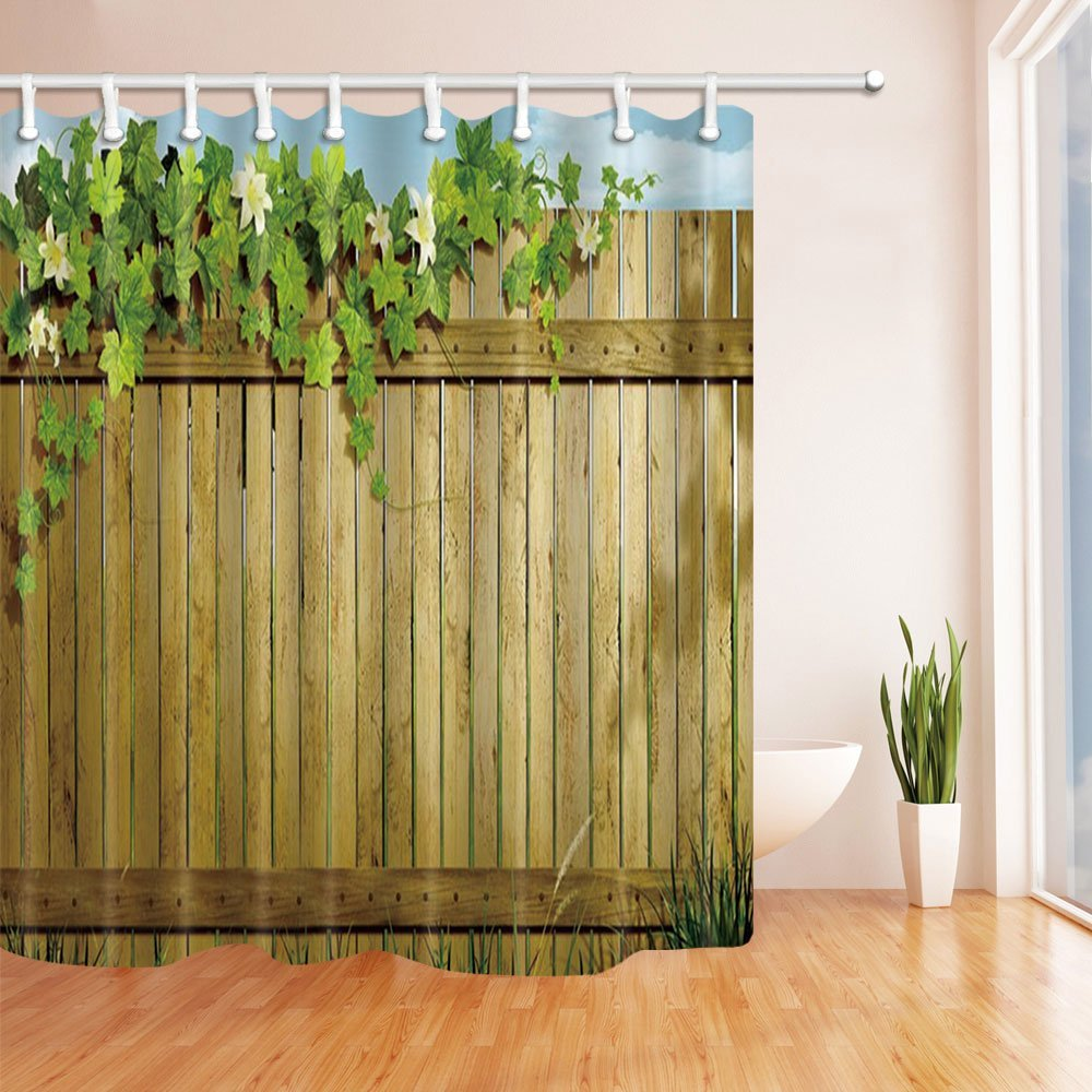 Wooden Garden Fence Bathroom Shower Curtain Waterproof Fabric w//12 Hooks new