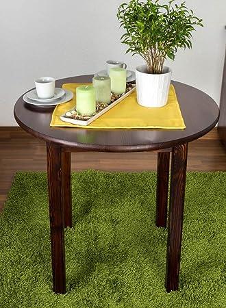 Mesa redonda de 80 x 80 cm, madera maciza de pino), color: nogal ...