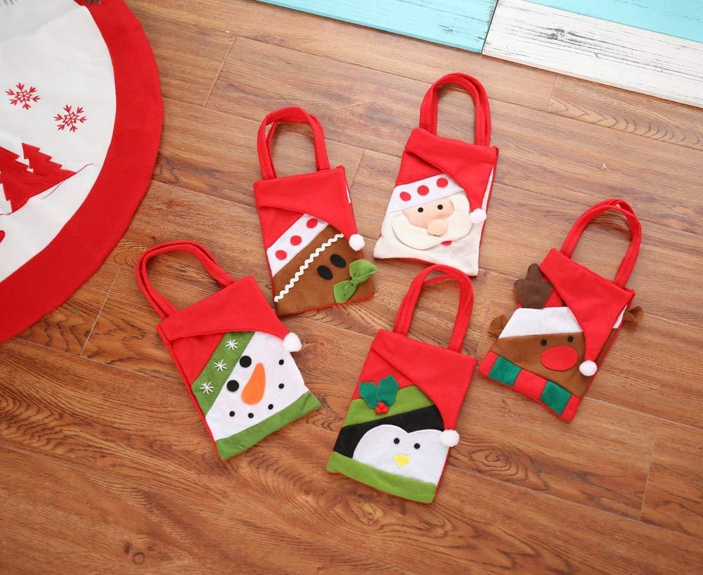 Fairydreamy Christmas Candy Cookie Gift Bags Santa Snowman Elk Filler Handbags Xmas Party Wedding Decoration Snowman