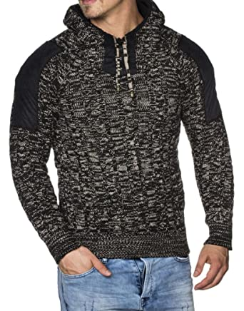 f9859e41625a Tazzio Herren Styler Grobstrick-Pullover mit Kapuze u Melange Muster 16483   Amazon.de  Bekleidung