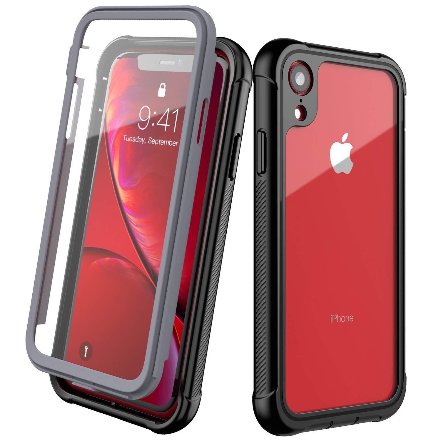 Clear Designed for iPhone XR Case,EONFINE Full-Body Heavy Duty Protection with Built-in Screen Protector Rugged Armor Cover Clear Shockproof Case for iPhone XR Case 6.1 Inch 2018 (Black) by Eonfine