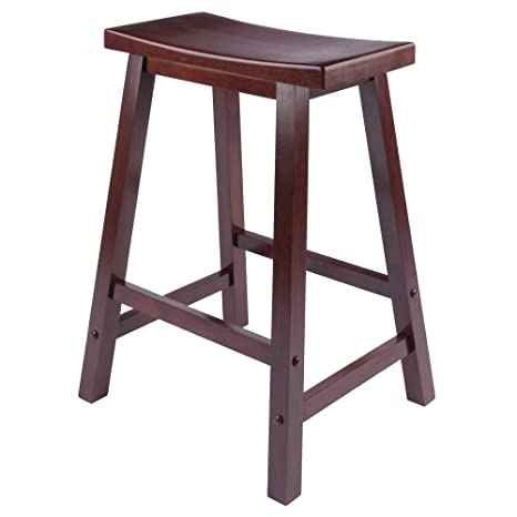 Awesome Winsome Saddle Seat 24 Inch Counter Stool Walnut Pdpeps Interior Chair Design Pdpepsorg