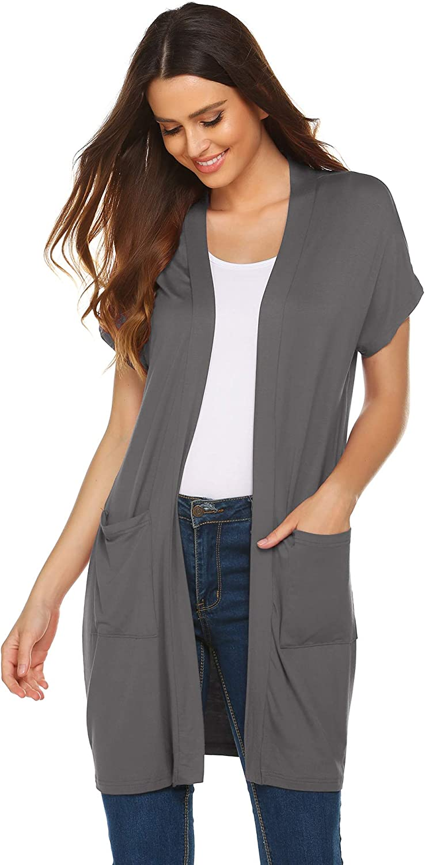 Zeagoo Womens Short Sleeve Open Front Lightweight Casual Comfy Long Line Drape Hem Soft Modal Cardigans Sweater