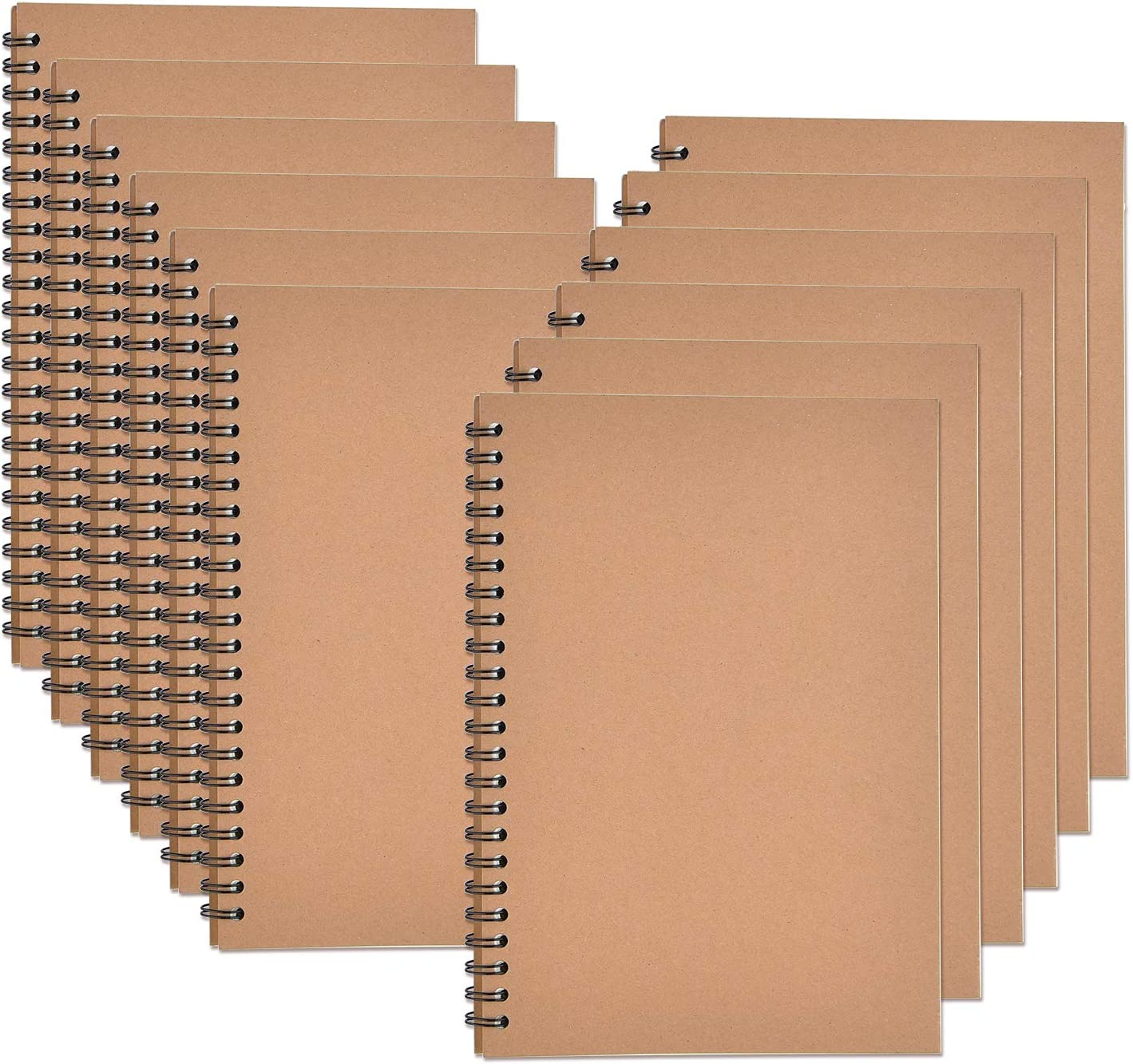 Zealor 12 Pack Soft Cover Notebooks with Lined Paper 8.3 inch x 5.5 inch, Spiral Notebooks -120 Pages, 60 Sheets - Memo Notepads for Home School Travel (Kraft Cover)
