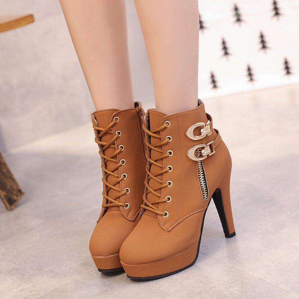 SchuheES High Heel Schuhe mit Wasserdichten Seitlichen Reißverschluss Stiefel Damenschuhe Spitze Große Martin Stiefel