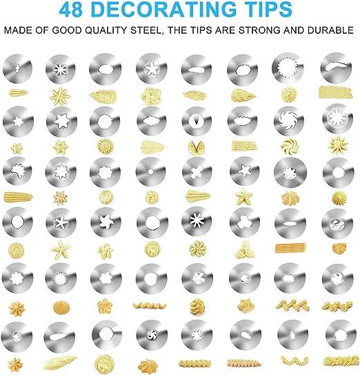 3 * Coupleurs Ustensiles /à P/âtisserie NEXGADGET Kit de D/écoration de G/âteau 55 Pi/èces 48 Douilles en Acier Inoxydable 3 * Poche P/âtissi/ère en Silicone