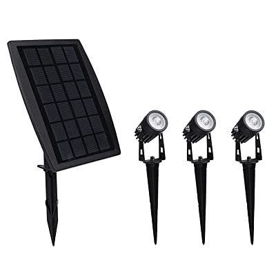 Solar Lights, 2-in-1 Solar Landscape Spotlights, Low Voltage Outdoor Waterproof Solar Landscaping Lights 9.8ft Cable Auto On/Off with 3 Warm White for Outdoor Garden Yard Landscape Downlight