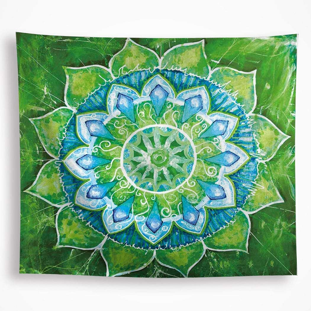 """All Smiles Green Blue Mandala Tapestry Wall Hanging Ombre Lotus Home Decor 59""""x51"""" Indian Geometric Decorations Hippie Boho Wall Art for Bedroom Living Room"""