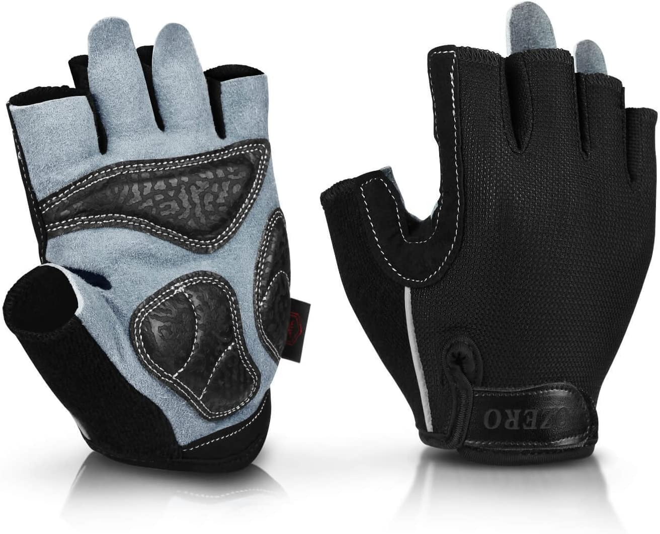 OZERO Fingerless Gloves,Leather Gym Gloves for Fitness,Workout,Cycling,1 Pair