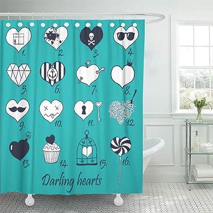 Amazon Emvency Shower Curtain Diamond Of Hand Drawn Hearts