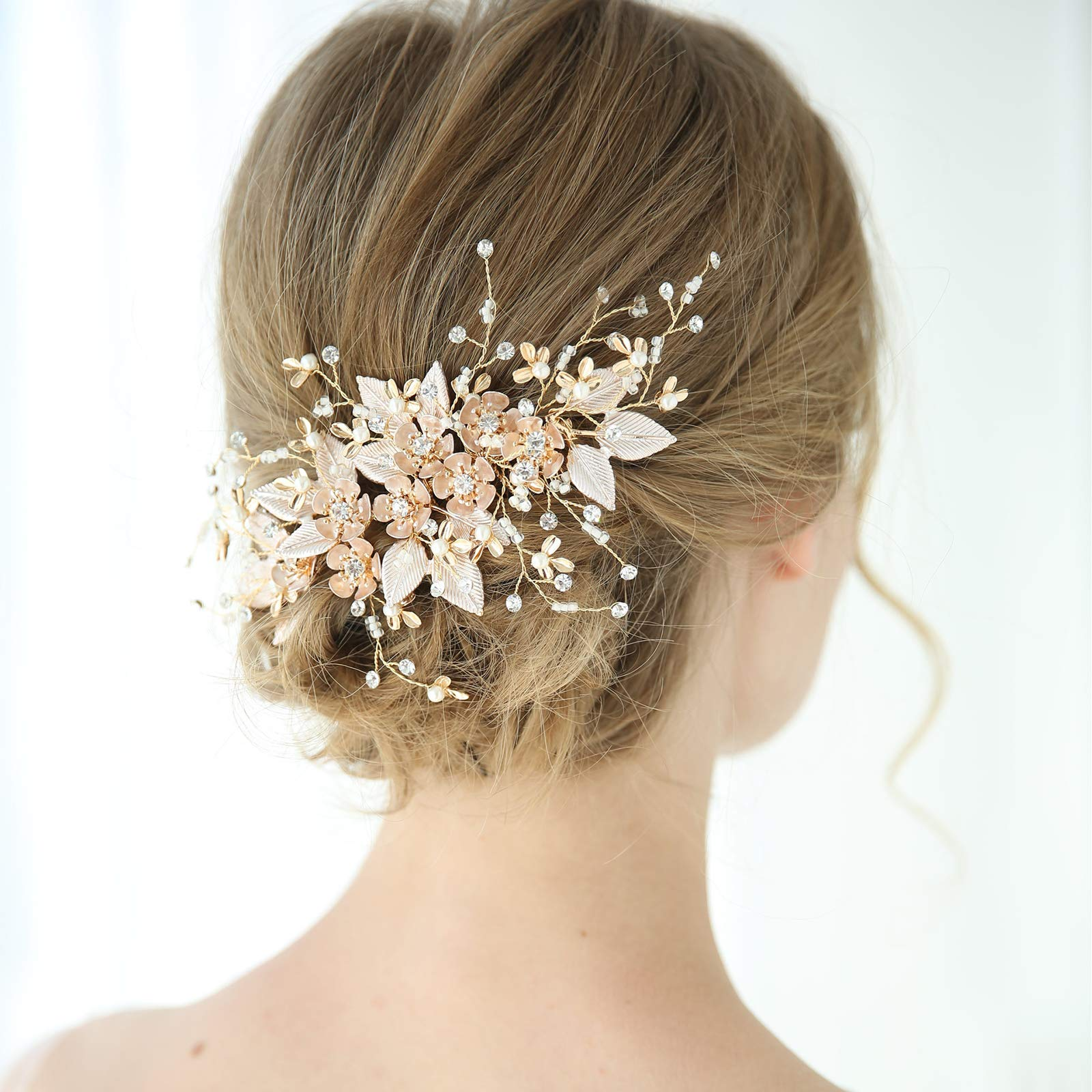 SWEETV Handmade Wedding Hair Comb Pearl Floral Leaf Bridal Hair Accessories for Brides and Bridesmaid by SWEETV