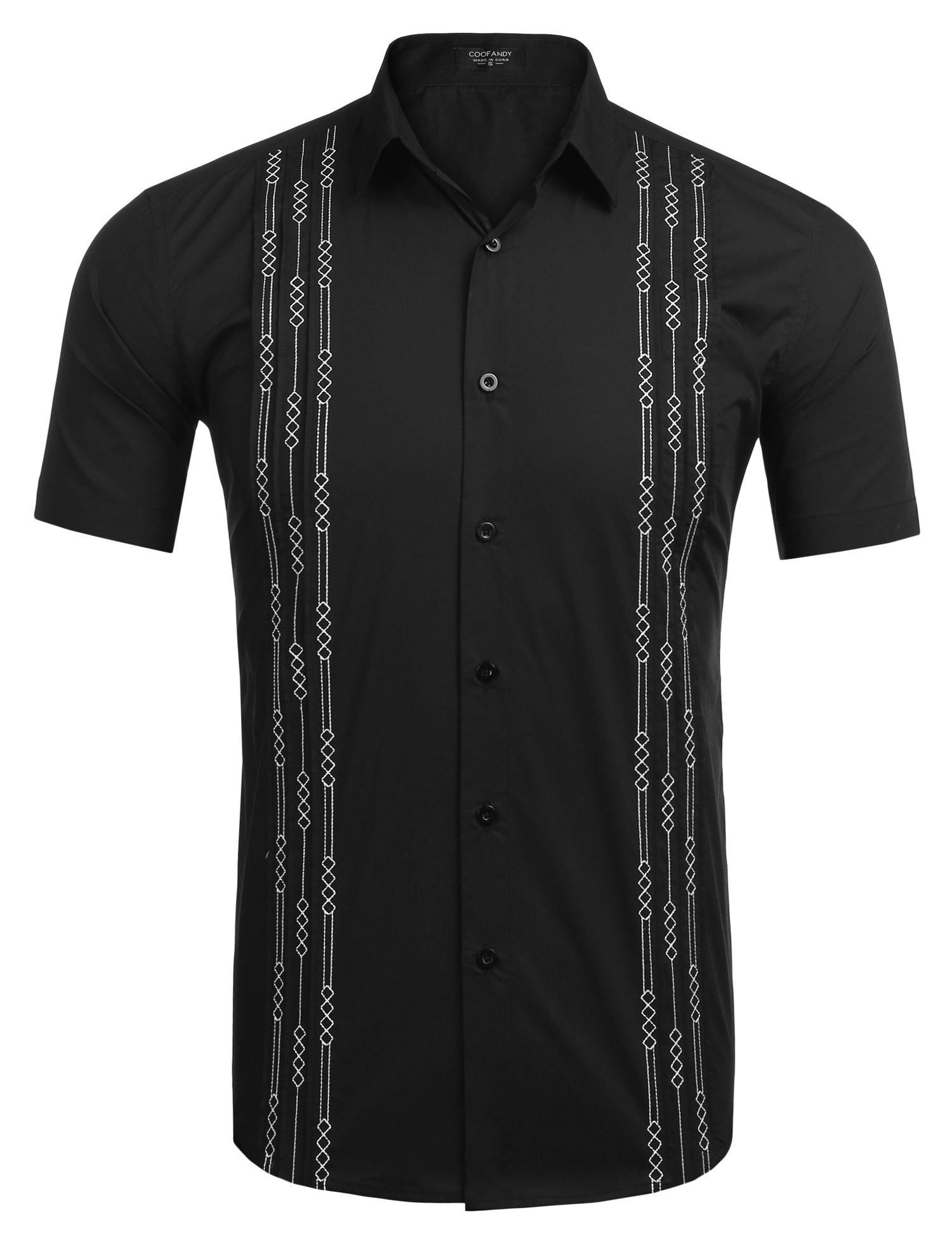 COOFANDY Mens Short Sleeve Guayabera Cuban Shirt Wedding Party Beach Dress Shirt,Black,XX-Large