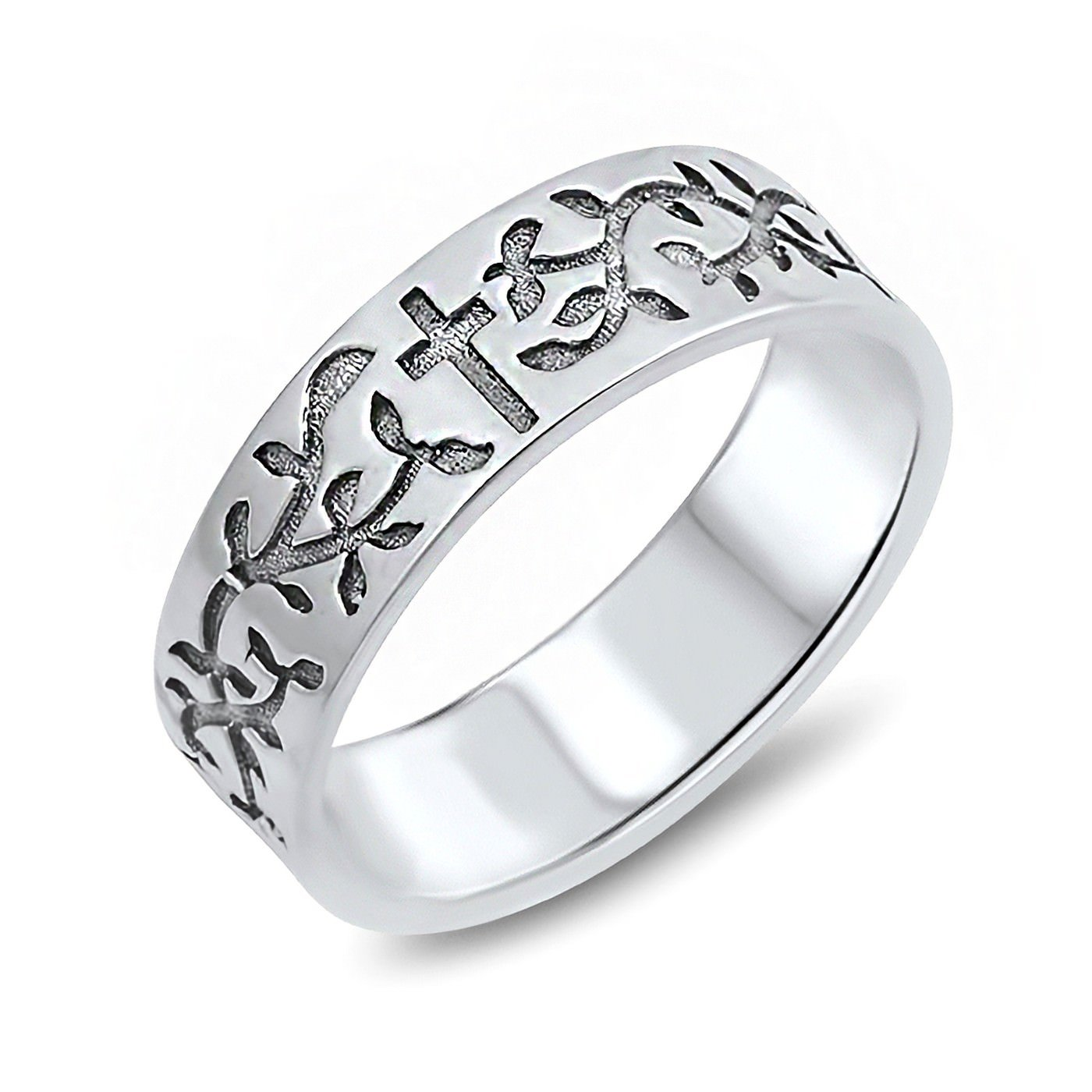 6mm Cross and Olive Vines Engraved 925 Sterling Silver Christians Womens Band Ring Size 7