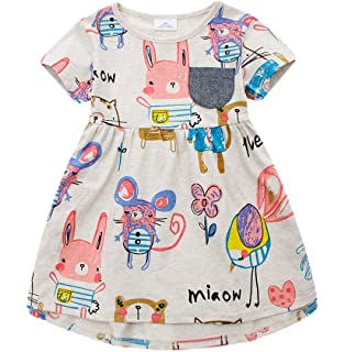 82f6274437 Angel tribe Girl Short Sleeve Cartoon Casual Printing Dress T-Shirt  Nightgown 100% Cotton Rat