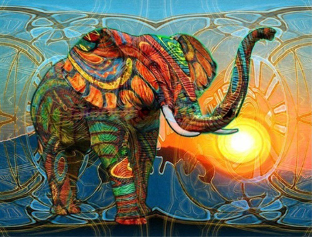 Colorato elefante 5D Diamond Painting by Numbers Full drill kit ricamo a punto croce Craft DIY Art Home Wall Decor (30 cm x40 cm) WesGen