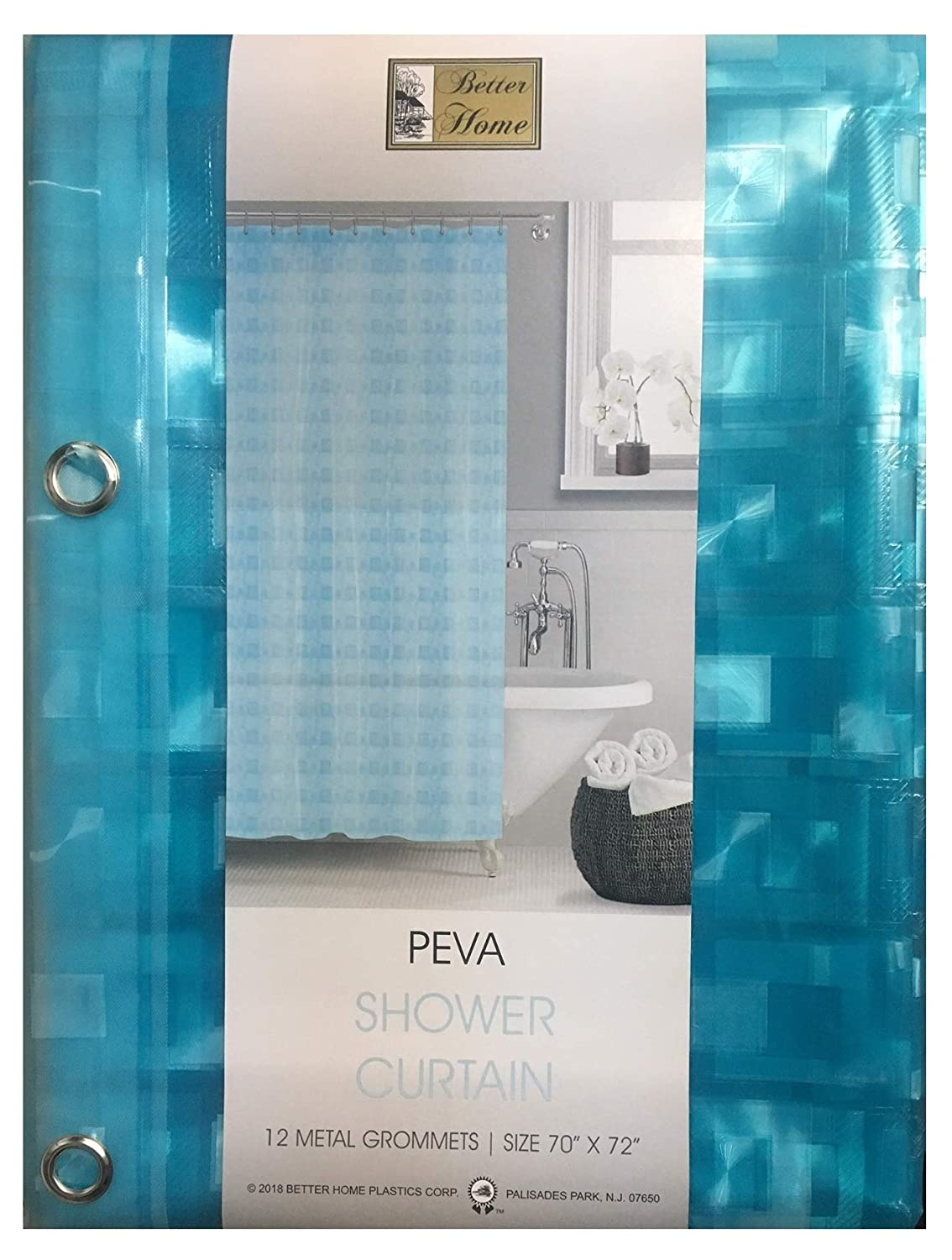 70 by 72 Inch Blue Better Home PEVA Shower Curtain Liner 3D Effect Design Decorative Bath Curtain or Liner Waterproof Mildew Resistance