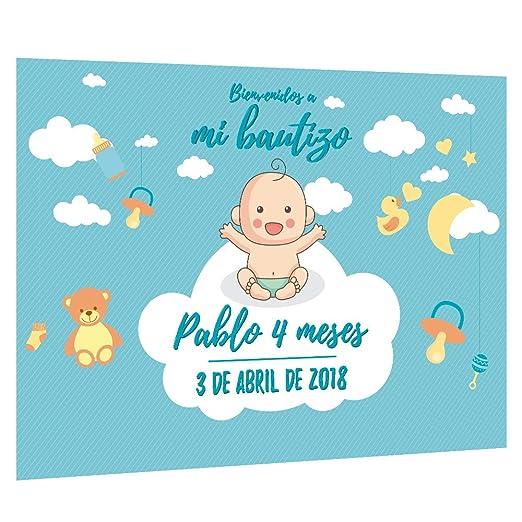 Photocall Bautizo para niño Personalizado | Decoración de bautizos | Material Lona con Velcro para fácil colocación (305x230cm)