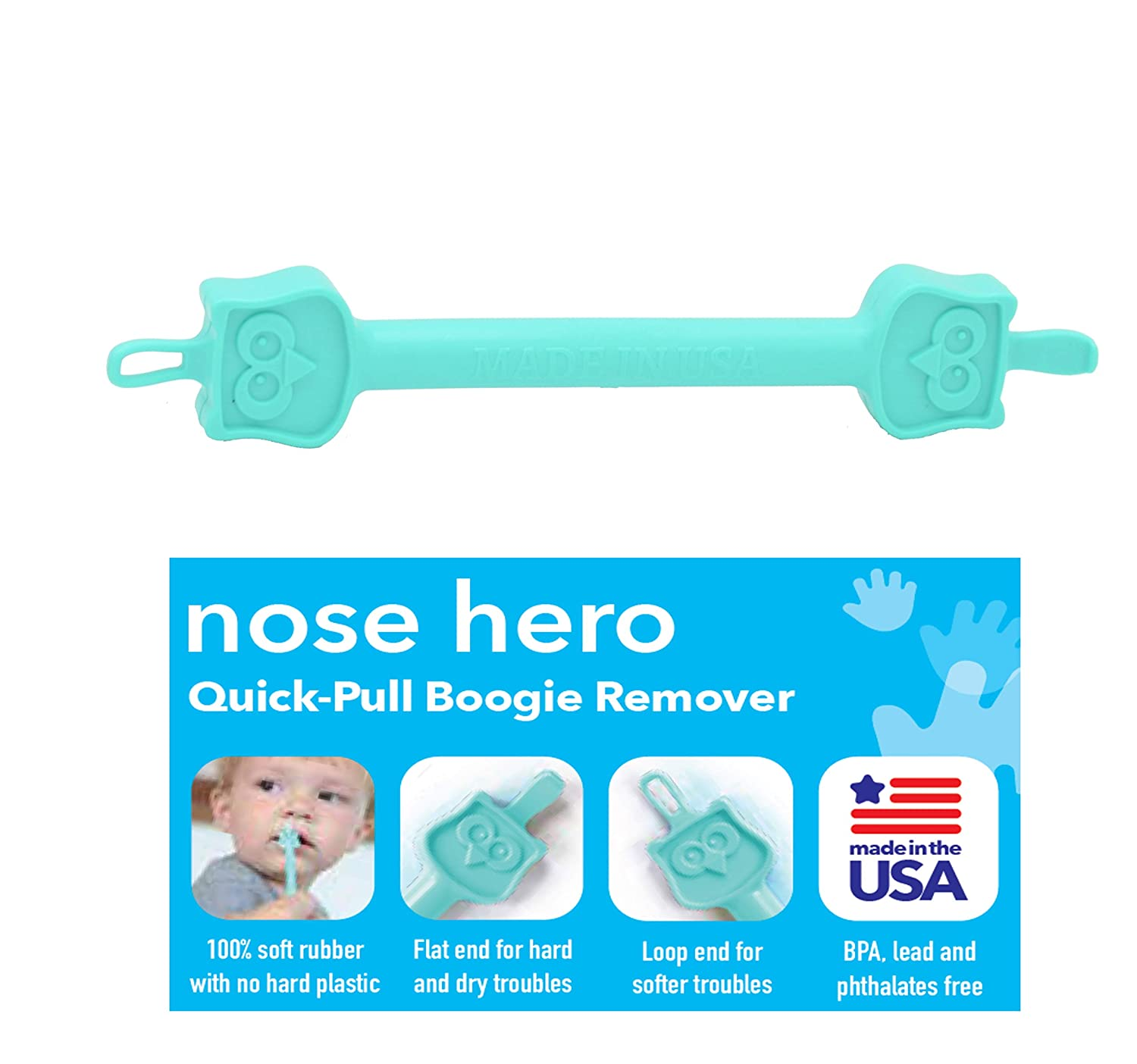 Nose Hero Soft Baby Nose Cleaner Gadget | 100% Flexible Safety Rubber Tips for Infants Ears and Nose Relief | Made in USA | Essential Baby Shower Registry Gift | Nasal Booger Remover and Snot Picker