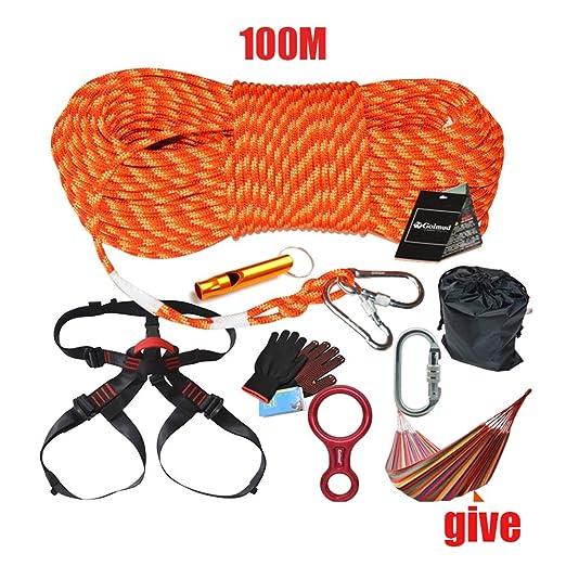 WYX 100 m Kit de Escalada, arnés mosquetón al Aire Libre, Equipo ...