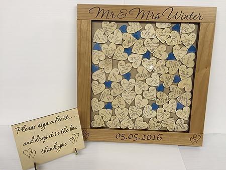 Personalizado lujo cerezo Azul corazones gota caja libro de ...