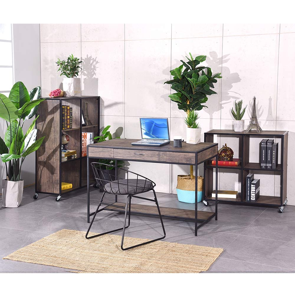 Aingoo Computer Writing Desk with Drawers,Home Office Rustic Metal MDF Wood Mid Century Large PC Table for Brown Farmhouse (Brown) by Aingoo (Image #5)