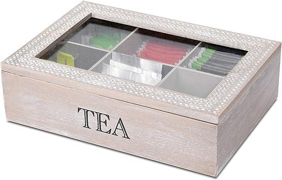Caja de almacenaje con ventana y 6 compartimentos, 24 x 17 x 7 cm, color natural/blanco, caja de madera: Amazon.es: Bricolaje y herramientas