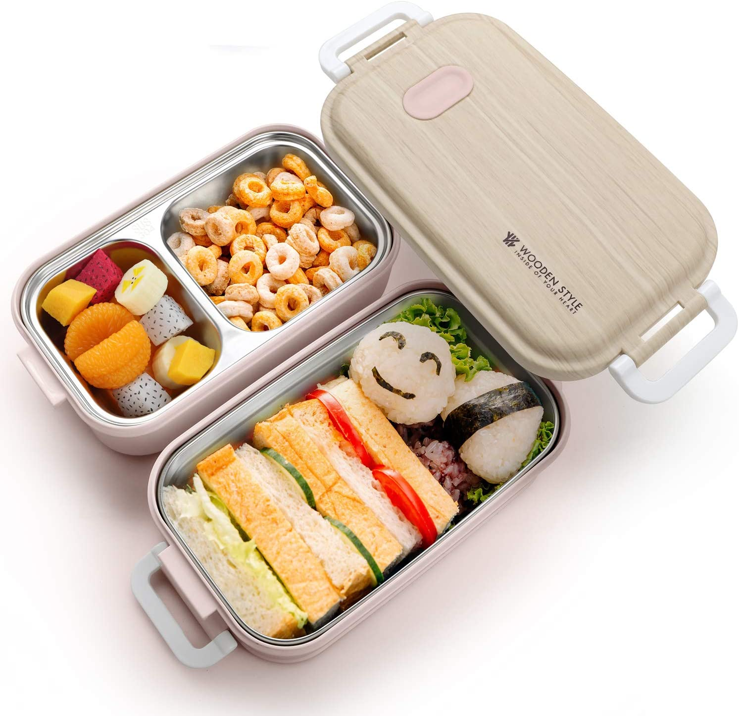 Hometall Stainless Steel Lunch Box with Dual Tiers & 3 Compartments Stackable Bento Stainless Steel Lunch Box, Microwave Freezer Dishwasher Safe, Plastic Outer Cover (Japanese Grain Style)