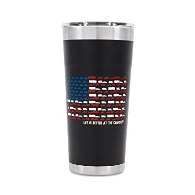 Camco Life is Better at The Campsite Stainless Steel Insulated Twist Top Tumbler- Charcoal, U.S. Flag Print – 20 oz. | Superior Ice/Heat Retention | U.S. Flag Print Made of Mini RVs (53065): Automotive