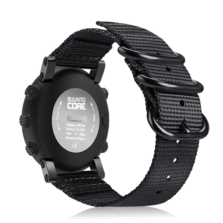 Malla De Nylon Para Reloj Suunto Core, Color Negra