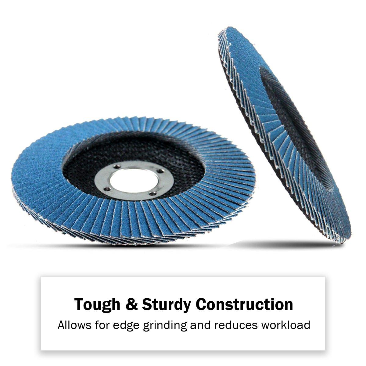KSEIBI Zirconia Corundum 4 1/2 Inch Flap Disc Sanding Grinding Wheel (Grit #40, Blue) by KSEIBI (Image #3)