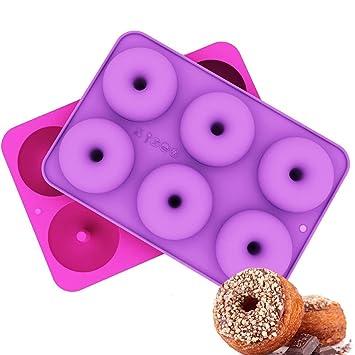 Donut Pan, Werded 6 cavidades de silicona para horno, molde antiadherente para tartas,