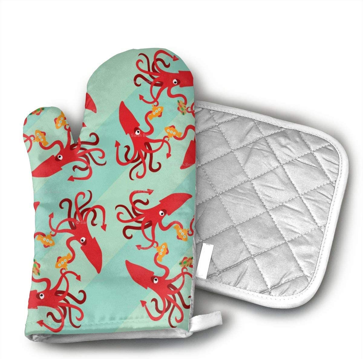 NOT The Giant Squid Eats Subs Cotton Heat Resistant Double Oven Mitts/Gloves Potholder Extra for Kitchen Cooking Baking