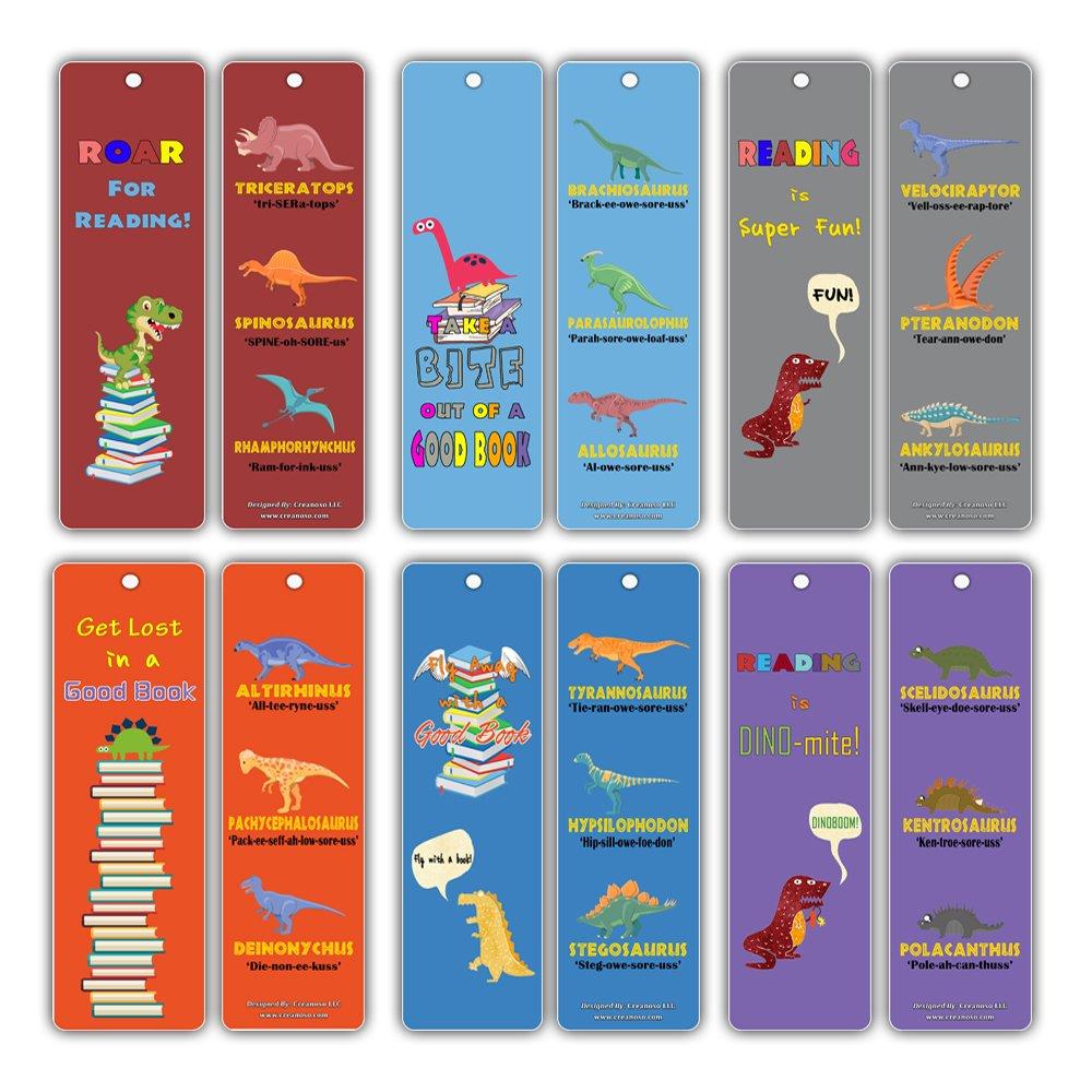 Dinosaur Party Supplies Kids Bookmarks (12-Pack) - Cute Dino Cards - T Rex Tyrannosaurus Stegosaurus Triceratops - Stocking Stuffers Gifts Creanoso