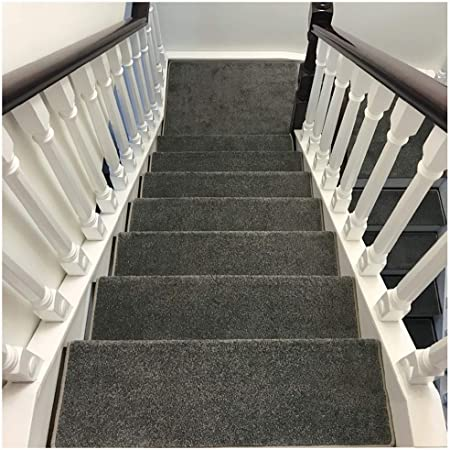 ZENGAI Alfombra de la Escalera Colección de peldaños de Escalera Interior Alfombra Antideslizante Antideslizante Peldaño de la Escalera 9 Colores (Juego de 5) (Color : E, Size : 100cmx24cm): Amazon.es: Hogar