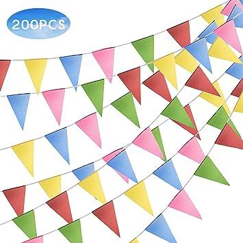 FORMIZON 100 Metros Bandera Banderín, Bunting Partido Colores Triángulo, Nylon Tela Decoraciones Banderas Boda Bautizo Fiesta Cumpleaños Navidad ...