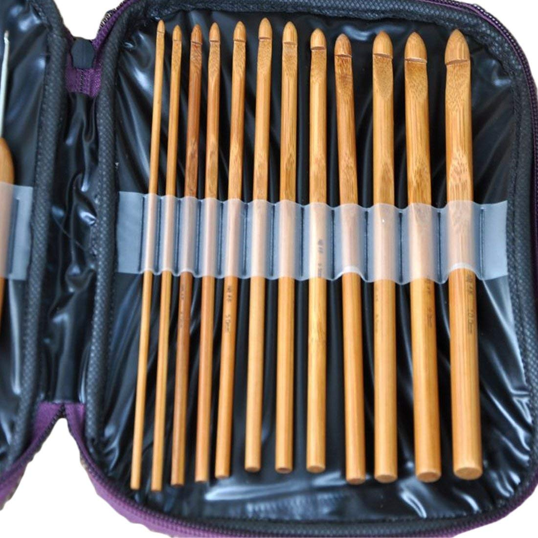 Yevison Bamboo Crochet Hooks Needles Knit Weave Craft Yarn Sewing Tools Knitting Bamboo Crochet Hook Set with Case High Quality