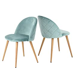 Green Forest living Room Leisure Chair. Wood Legs Velvet Fabric Cushion Seat Mental Wood Legs Rack Support Low-Back Soft Back for Living Room Chairs, Set of 2 Green