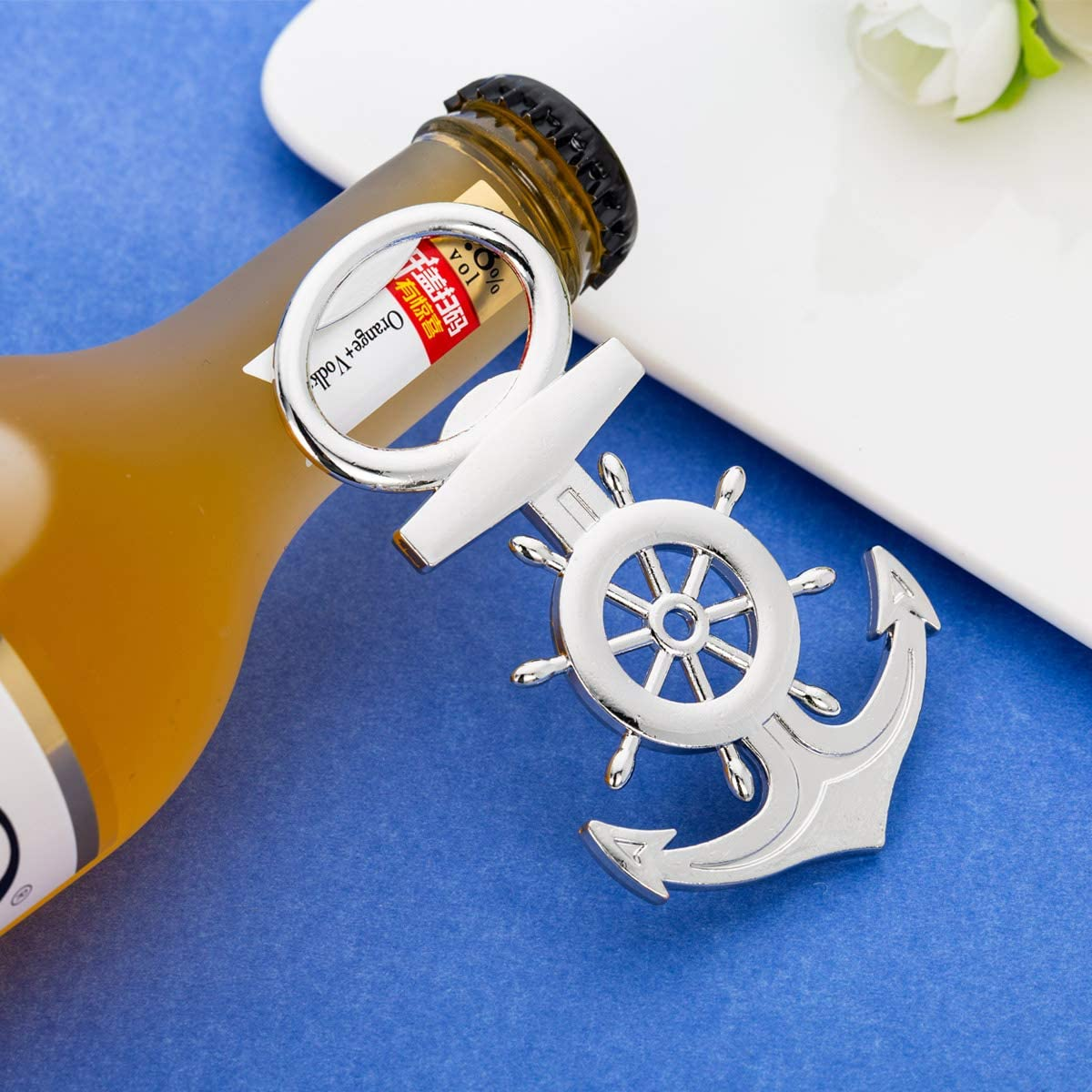 16Pcs Nautical Themed Anchor & Wheel Beer Bottle Opener Party Favors for Guests Boxed Souvenir Gift Favor for Nautical Beach Wedding Baby Bridal ...