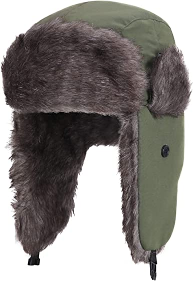 Warm Winter Cap Russian Trapper Hat Olive Green Ear Flaps Brown Rabbit Fur S-XL