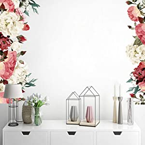 Watercolor Floral Wall Decor Bedroom, Kuchluse Delicate Peony Flowers Wall Decals for Living Room Nursery Wall Decorations Removable Wallpapers Murals Art Applique