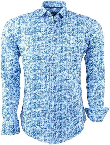 Ferlucci Calabria - Camisa para Hombre (elástica), Color Azul, Todo el año, Hombre, Color Azul, tamaño L: Amazon.es: Ropa y accesorios