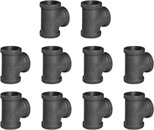 """1"""" Pipe Fitting Tee DN25 Threaded Cast Black Malleable Iron for Steampunk Vintage Shelf Bracket DIY Plumbing Pipe Decor Furniture (10, 1"""")"""