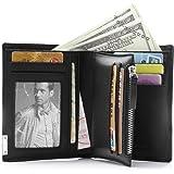 Teemzone RFID Monedero Billetera de Hombre Piel Tarjetero Cartera Cremallera Negro